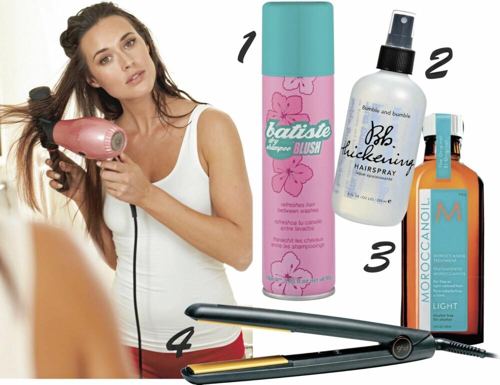 """HÅRTIPS: 1. Tørrsjampo fra Batiste redder en dårlig hårdag. 2. Bumble & Bumble sin Thickening Spray gir håret fylde på et blunk. 3. Blankt og nydelig hår kan du """"jukse"""" deg til med for eksempel MoroccanOil. 4. GHD Styler blir varm på få sekunder, og gjør at du raskt kan fikse håret selv om du har dårlig tid."""