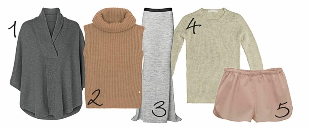 KOSEKLÆR: 1: Grå, myk strikket genser fra MQ, kr 699,- 2: Rosa, strikket vest fra Pepe Jeans, kr 999,- 3: Grått, deilig skjørt fra byMaleneBirger, kr 2199,- 4: Strikket kosegenser fra Zara, kr 399,- 5: Rosa silkeshorts fra Vanessa Bruno, kr 299,-