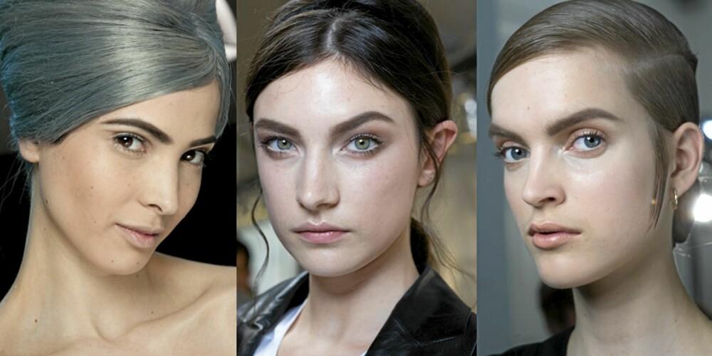 STORE BRYN: I høst skal øynebrynene være store og mørke, slik som hos Jean Paul Gaultier, Valentino og YSL.