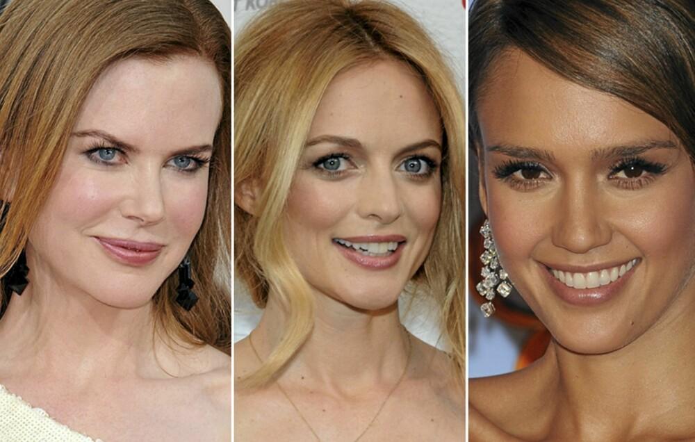 UNDERTONER: Nicole Kidman har en kald undertone. Heather Graham er mer varm og gylden i huden, mens Jessica Alba er mer nøytral med sin olivenhud.