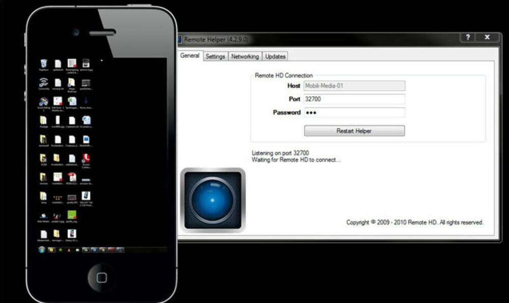 FJERNSTYRT PC: Med appen Remote HD kan du fjernstyre PC-en din med en iOS-enhet.