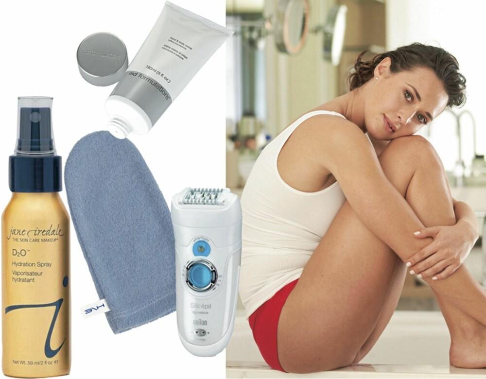 TIPS TIL HUDEN: En god dusj med fuktighetsspray gir huden både fuktighet og duggfrisk finish, denne er fra Jane Iredale. En blå vaskevott, - egentlig beregnet på menn, men vi elsker den. Den vasker bort alle sminkerester, til og med vannfast maskara. Wash Cloth fra Jane Iredale. En god epilator holder hårveksten i sjakk, og må brukes langt sjeldnere enn for eksempel barberhøvel. Braun Silk-Épil tar superkorte hår og har en innebygd liten lommelykt som gjør det enklere å få med alle småhår. En bodylotion må gjøre mer enn bare å lukte godt! MD Formulations Hand & Body Lotion inneholder glykolsyre som også eksfolierer huden og sørger for at du ikke får inngrodde hår. Elsker den!