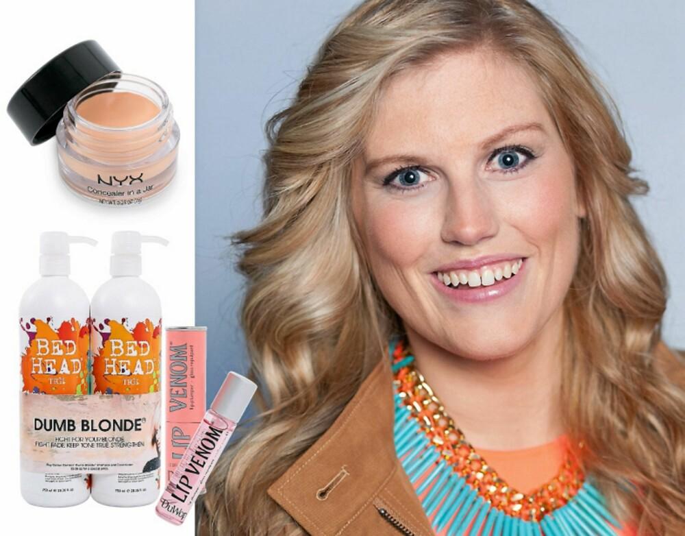 Gode makeup- og stylingprodukter: Sjampo og balsam fra Bed Head Tigi, kr 445,-, Gloss fra Lip Venom, kr 179,-og Foundation fra Nyx, kr 175,-.