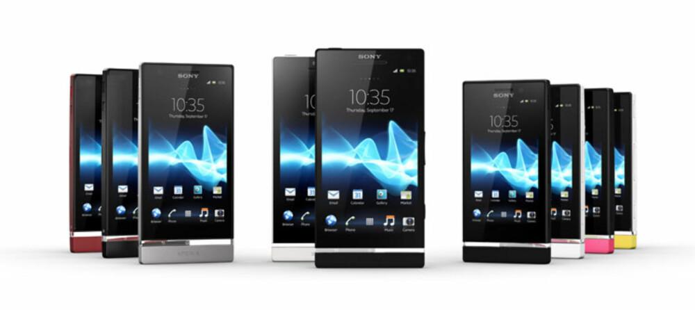 XPERIA-SERIEN: Sony Xperia S (midten) får selskap av de nye medlemmene Xperia P (t.v) og Xperia U (t.h.).