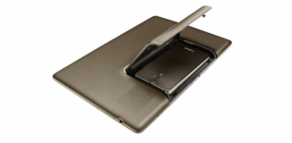 MOBIL OG BRETT: Asus PadFone er et nettbrett som drives av en mobiltelefon du setter inn i brettet.