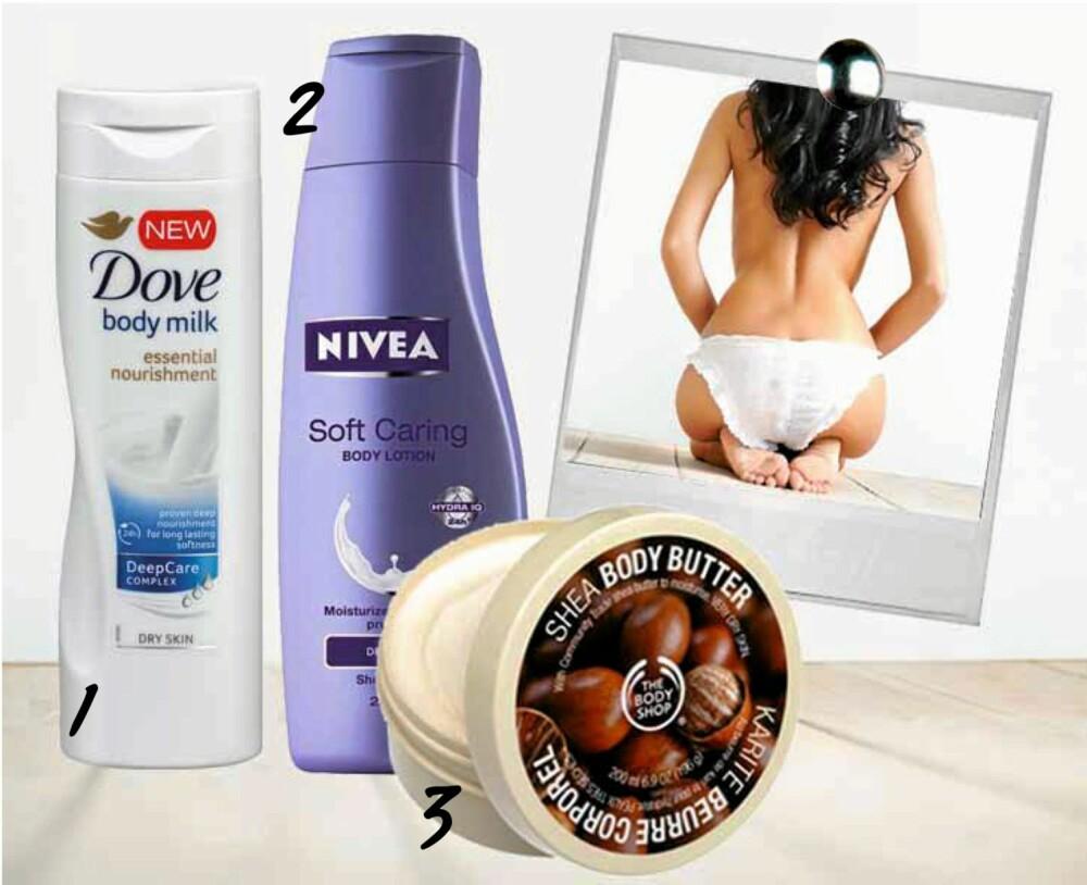 FAVORITTBODYLOTION: Her er våre favoritter i body lotion-klassen: Nivea, The Body Shop og Dove!