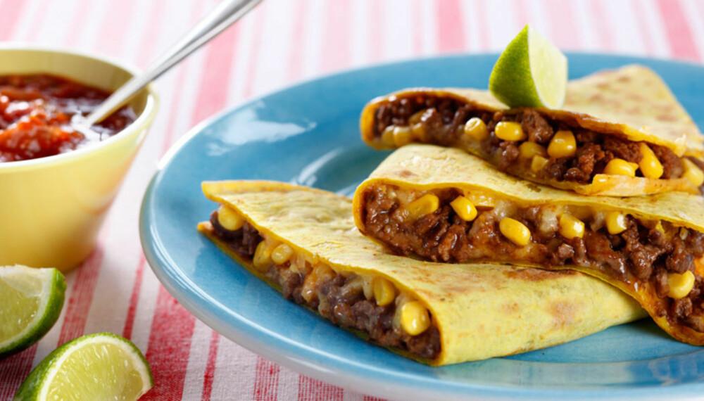 Dagens rett: Quesadilla med kjøttdeig og mais