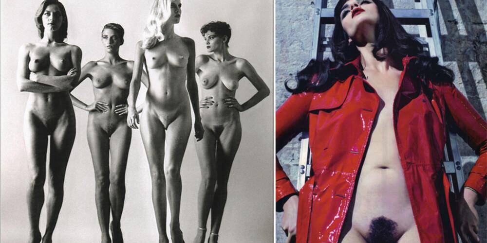 MOTERIKTIG: Disse bildene er tatt med 29 års mellomrom. Begge gangene var naturlig kjønnshår på moten.