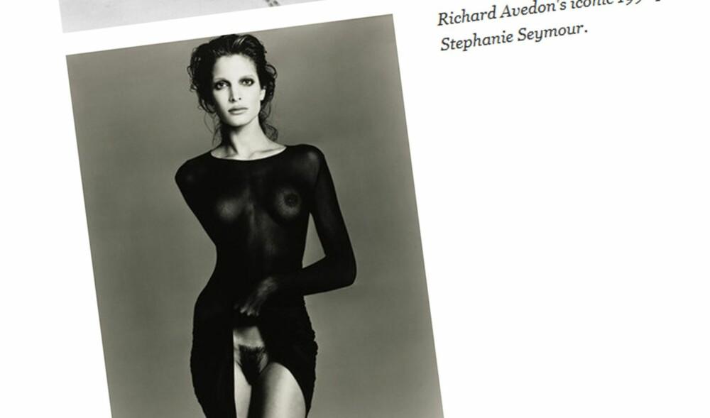 1992: Stephanie Seymore fotografert av Richard Avedon i 1992.