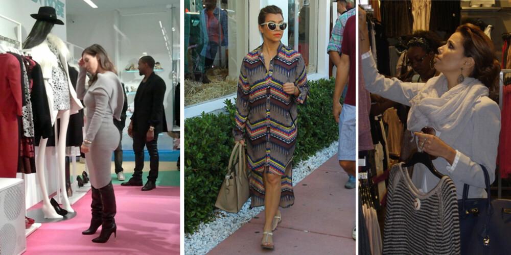STIL ELLER KOMFORT? Kim Kardashian shopper helst i skyhøye hæler og trang kjole, mens storesøster Kourtney går for en mer behagelig look med flate sandaler til sin shoppe-tur. Eva Longoria ser også ut til å ha fått med seg at komfort er stilen man går for når Visa-kortet skal trimmes i butikkene.