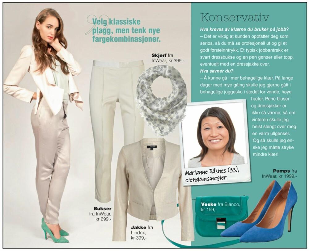 Dus minimalisme: Modellen har på seg lys jakke fra by Malene Birger, kr 2999,- Grå silkebukser fra Wiksen, kr 1899,- Mintgrønn singlet fra H&M, kr 249,- Mintgrønne pumps fra Bianco, kr 699,- Smykke fra H&M, kr 80,-