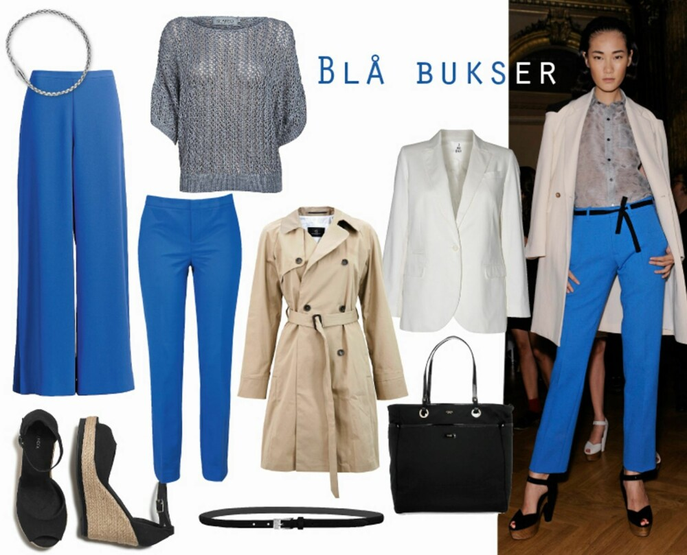 BLÅTT: Modellen i freshe blå bukser gikk visningen til Roland Mouret denne sesongen. Vide blå bukser fra H&M, kr 299, smale bukser fra Gina Tricot, kr 299, svarte sandaler med kilehæl fra Lindex, kr 249, trenchcoat fra Bruuns Bazaar, kr 3199, grå genser fra Soaked, kr 599, hvit blazer fra Day Birger et Mikkelsen, kr 2799, sølvarmbånd fra Bottega Veneta/Net-a-porter.com, kr 2000, svart belte fra Part Two, kr 399, svart veske fra Anya Hindmarch/Net-a-porter.com, kr 4450.