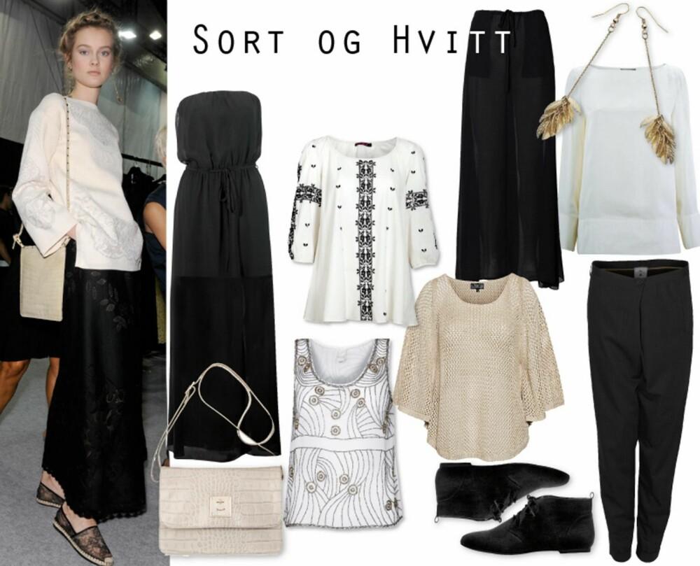 SORT OG HVITT: Modellen er avslappet i sort og hvit hos Valentino. Sort stroppeløs kjole fra Gina Tricot, kr 249, blusetopp fra Indiska, kr 349, bukseskjørt fra By Malene Birger, kr 1899, hvit overdel fra Bruuns Bazaar, kr 1199, bukser fra Day Birger et Mikkelsen, kr 1999, champagnefarget genser fra KappAhl, kr 299, mønstret topp fra Vila, kr 300, sko fra Zara, kr 299.