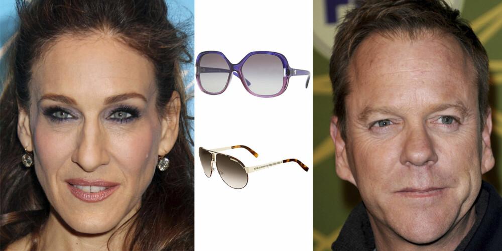 AVLANGT ANSIKT: Sarah Jessica Parker og Keifer Sutherland har begge en avlang ansiktsform. Hører du også til denne gruppen er disse brillene et sikkert kjøp. Fra toppen: Versace 1 550,- Carrera 1 255,-