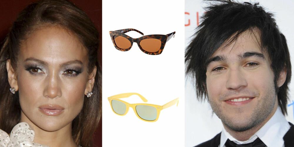 """DIAMANTFORMET ANSIKT: Jennifer Lopez og Pete Wentz har begge diamant ansiktsform. Hører du også til denne gruppen er disse brillene et sikkert kjøp. Fra toppen: ASOS """"""""cateyes"""""""" 129,- ASOS Wayfarer 129,-"""