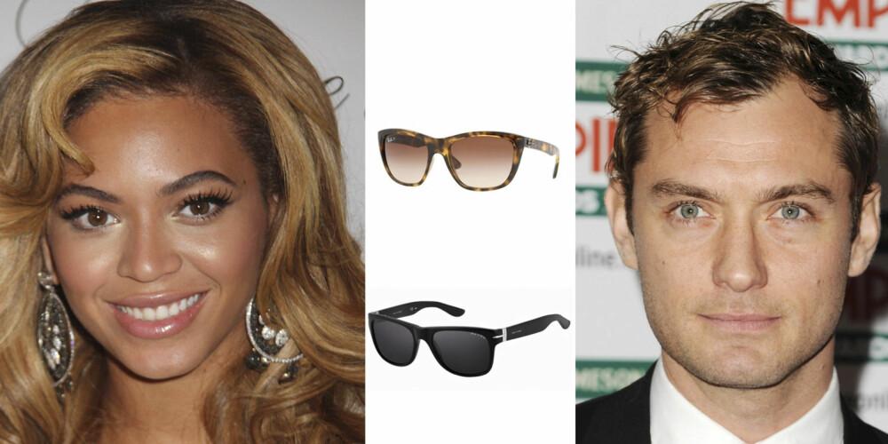 OVALT ANSIKT: Beyonce Knowles og Jude Law har begge en oval ansiktsform. Hører du også til denne gruppen er disse brillene et sikkert kjøp. Fra toppen: Ray-Ban 1 751,- Oxydo Wayfarer 940,-