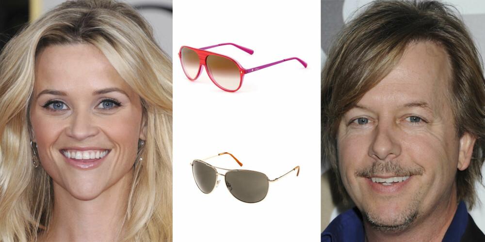 HJERTE/TRKANTFORMET ANSIKT: Reese Witherspoon og David Spade og har begge en hjerte/trekant ansiktsform. Hører du også til denne gruppen er disse brillene et sikkert kjøp. Fra toppen: Dior pilotbrille 2 530,- H&M pilotbrille 79,50,-
