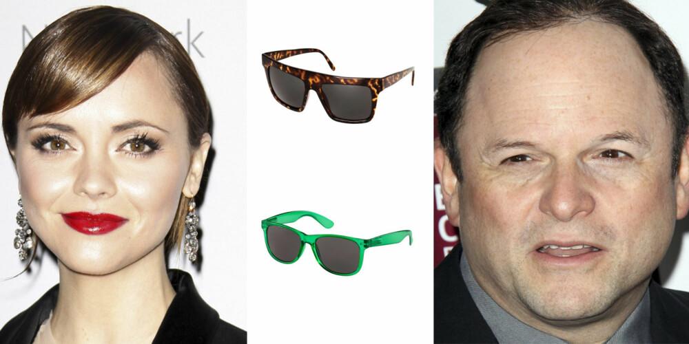 RUNDT ANSIKT: Christina Ricci og Jason Alexander har begge en rund ansiktsform. Hører du også til denne gruppen er disse brillene et sikkert kjøp. Fra toppen: H&M 99,- H&M 49,50.-