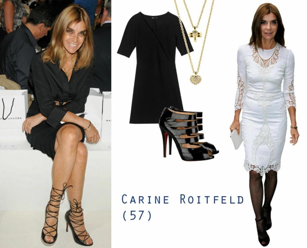 CARINES STIL: Carine Roitfelds stil er klassisk og fasjonabel, gjerne i hvitt og sort. Her ser du svart kjole fra Filippa K, kr 1500, smykke fra Dyrberg/Kern, kr 769, sko fra Chrisitan Louboutin, kr 5800 hos Net-a-porter.com.