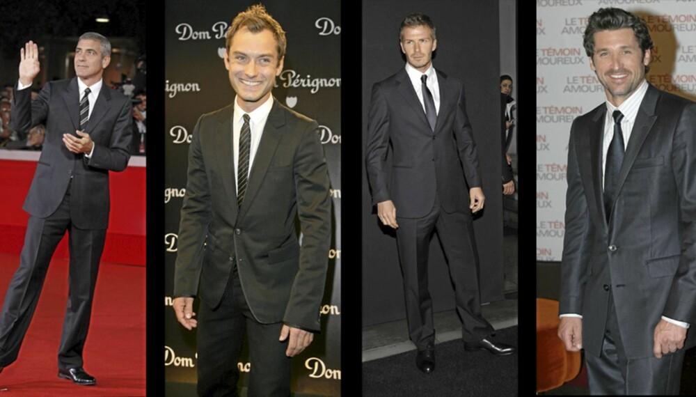 KJEKKE MENN: Det er få ting som ser bedre ut enn menn i dress. George Clooney, Jude Law, David Beckham og Patrick Dempsey vet hvordan det skal gjøres.