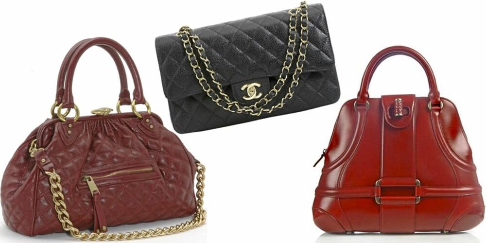 IT-VESKER: Marc Jacobs sin Stam-veske, Chanel 2.55 og Alexander McQueen sin Novak-veske.