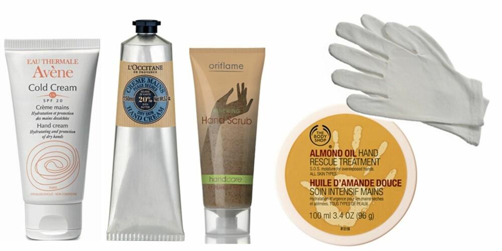 FRA VENSTRE: Avene Cold Cream (kr 109), L'Occitane Hand Cream (kr 229), Oriflame Hand Scrub (kr 89), The Body Shop Hand Rescue Treatment (kr 129) og The Body Shop Moisturising Gloves (kr 89).
