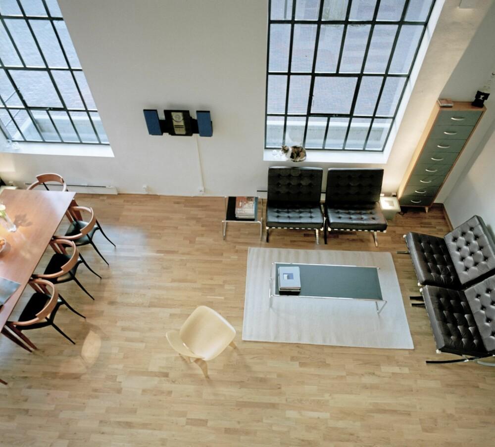 HØYT UNDER TAKET: De høye, gamle vinduene med tøffe jernsprosser har fått nye, moderne termoglass.