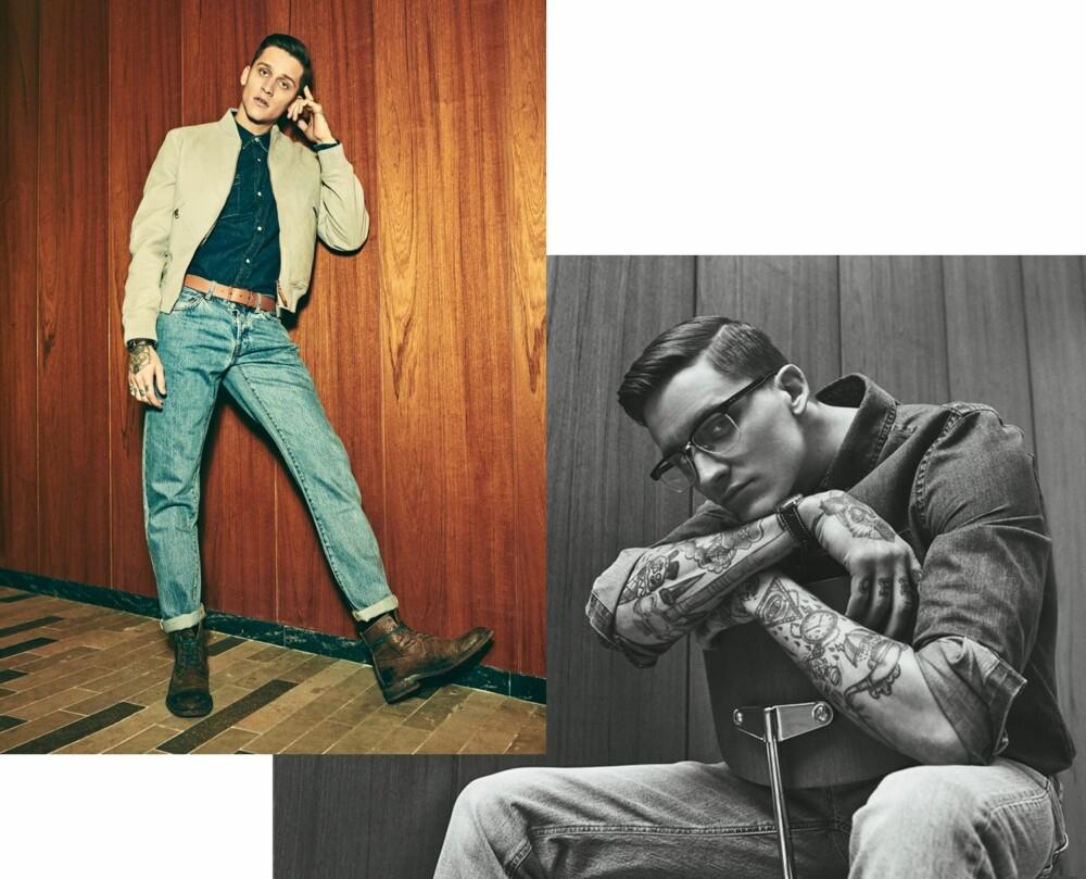 LØSE BUKSER OG TILKNEPPET SKJORTE: <b>T.v:</b> Jakke fra Louis Vuitton, kr 38.400. Denimskjorte fra Lee, kr 600. Jeans fra Han Kjøbenhavn, kr 1000. Belte fra louis Vuitton, kr 2680. Second-hand boots fra Time's Up Vintage, kr 700. Klokke fra Patek Philippe/Franz Jaeger & Me, kr 65.000. <b>T.h:</b> Skjorte fra W.A.C., kr 500. Jeans fra Filippa K, kr 1300. Briller fra Thom Brown, kr 4650. Klokke fra Patek Philippe/Franz Jaeger & Me, kr 65.000.