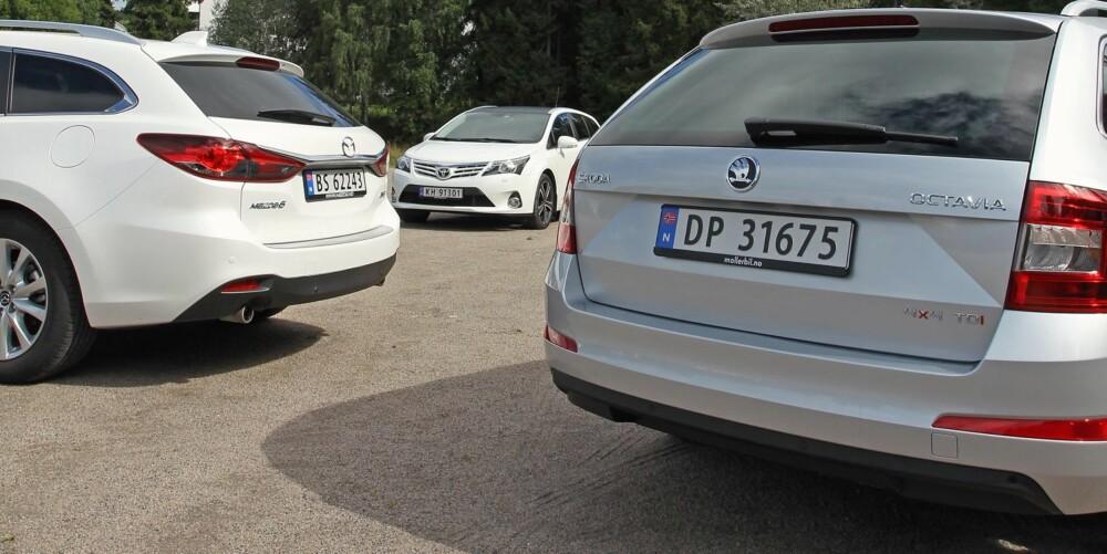 3 x stasjonsvogner mellomklasse. Skoda Octavia, Toyota Avensis, Mazda 6.