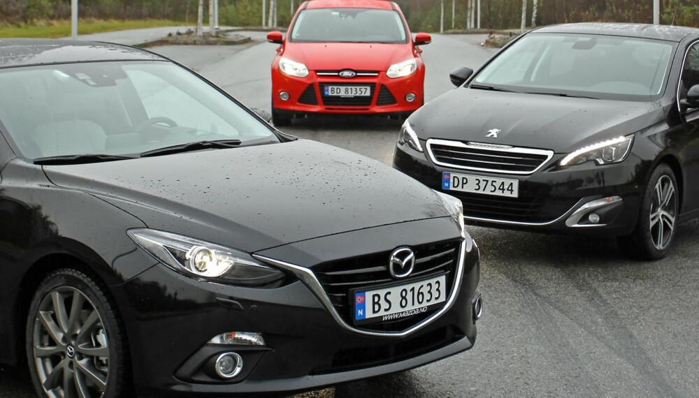 3 x kompaktbil test SML Ford Focus, Peugeot 308, Mazda 3 nov 2013