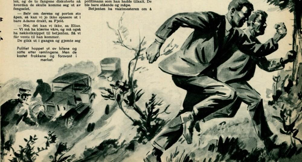 En illustrasjon fra artikkelserien i 1960 viser Tønnesen og Fjeld som rømmer.