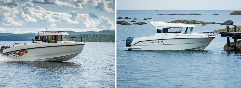 ULIK BRUK: Skal du ha en båt for transport fra A til B, skal du velge Bella 700 RAID (t.v). Dersom det er en båt for hyggetur du søker, bør du se nærmere på Finnmaster Pilot 7 Weekend (t.h). (FOTO: Terje Bjørnsen)