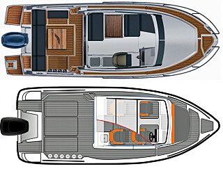 PLANLØSNINGER: I Finnmaster (øverst) er interiørløsningen planlagt for tur. I Bella (nederst) er hytta trukket langt fram, men har en sitteplass i baugen.