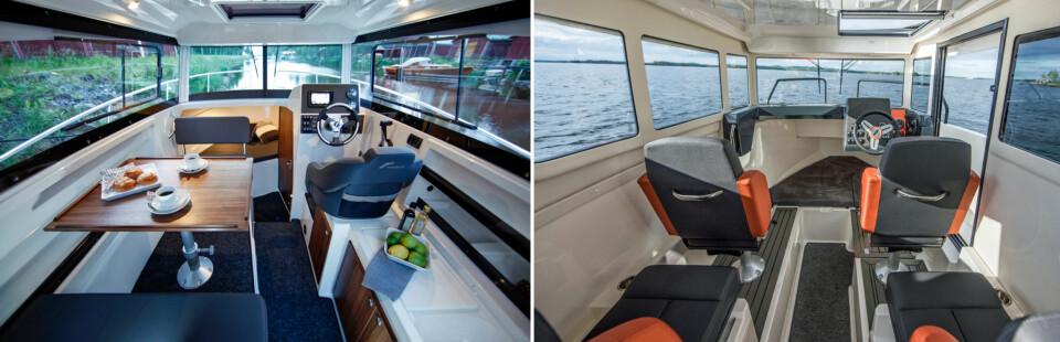 SITTEPLASSER: I Finnmaster (t.v.) er det spiseplass og kokemulighet som dominerer i cockpit. Hos Bella (t.h.) er interiøret først og fremst beregnet for transport, men det er en overnattingsmulighet om man må. (FOTO: Terje Bjørnsen)