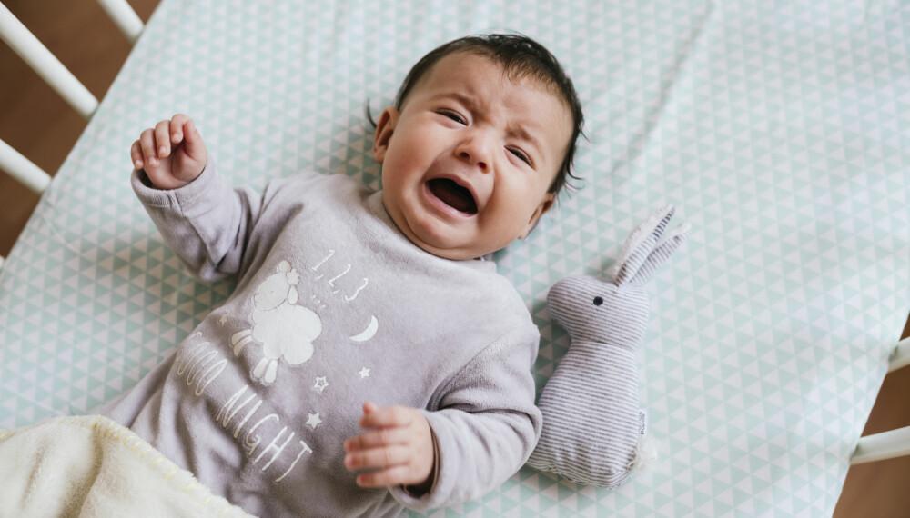 BABY MED VONDT I MAGEN: Nyfødte, spedbarn og større babyer får ofte vondt i magen, men hvorvidt gjelder årsaker og lindring, florerer det mange myter. Foto: Gettyimages.com.
