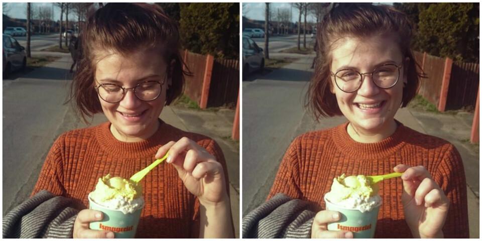 GODT: Ingvill koser seg med is på bursdagen sin.