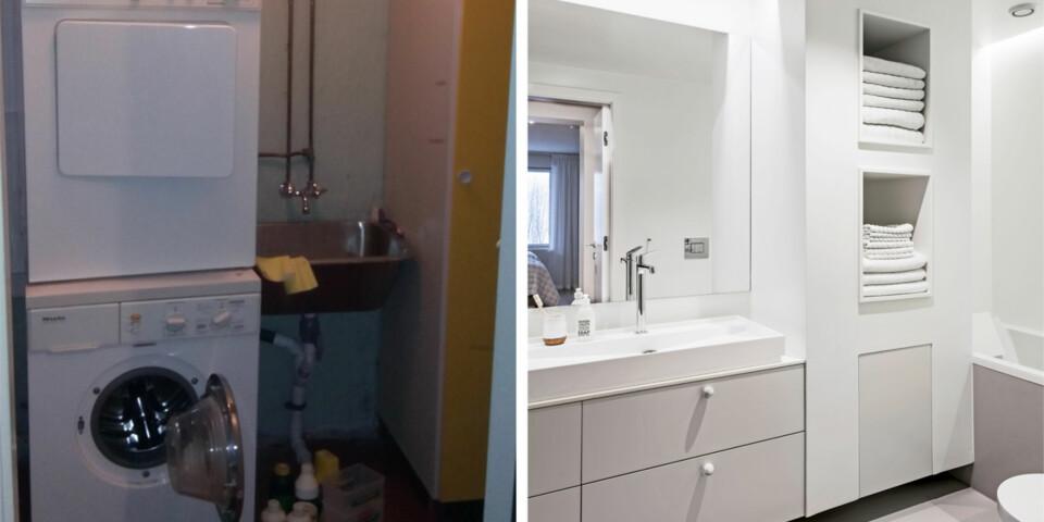 ENORM FORSKJELL: Vaskerom og bod er omgjort til et minimalistisk og stramt bad. Foto: Niklas Hart.