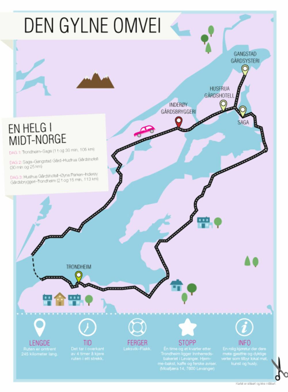 KART: Her får du en fin oversikt over helgeturen i Midt-Norge.