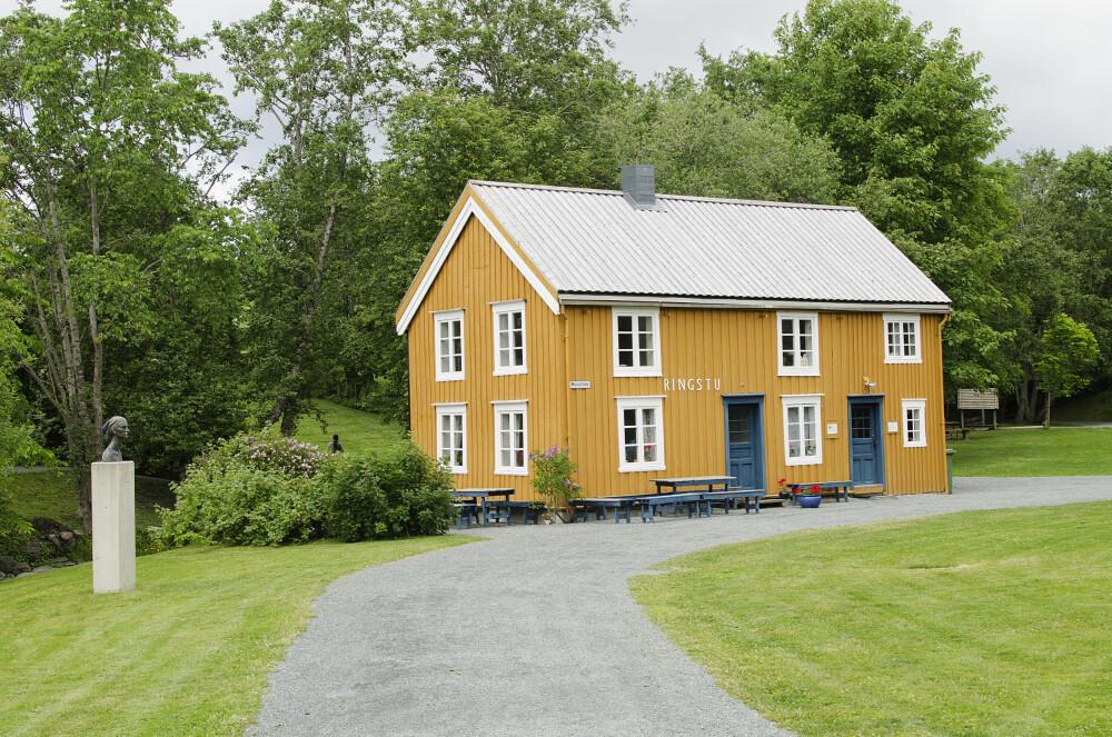 VAFLER OG KULTUR: I sentrum av Inderøy ligger Muustrøparken. Hver søndag på sommeren er det kaffe, vafler og minikonserter utenfor Ringstu.