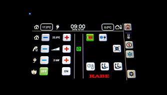 SMART DISPLAY: Av vår Kabes mange fine detaljer likte vi ikke minst Kabes egenutviklede display Smart D, som er intuitivt og enkelt å bruke. Kabe/Dometic har også laget en app-versjon for smarttelefoner, og for denne vant de en pris i European Innovation Awards 2017.  (FOTO: Geir Svardal)