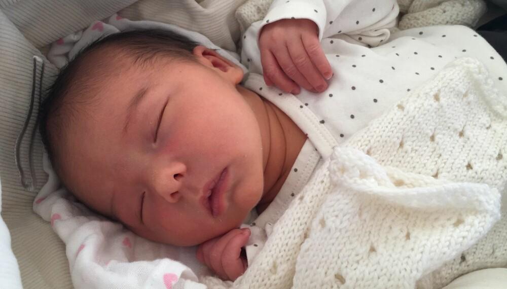 Aurora sover og drømmer søtt. Etter en lang tur sovner hun alltid så godt oppi vogna si. Foto: Privat
