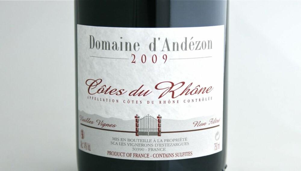 TEST AV GRILLVINER: Domaine d'Andézon 2009 kom på førsteplass i testen.