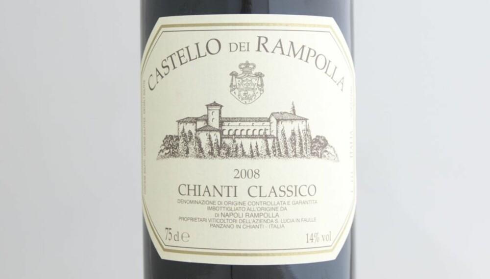 TEST AV CHIANTI: Castello dei Rampolla Chianti Classico 2008 kom på delt andreplass i testen.