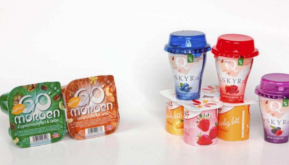 FETT ELLER MAGERT: Disse to Go`Morgen-variantene med nøtter inneholder nesten 10 prosent fett.  Yopait og Skyr, derimot har så lavt innhold av fett at de er fettfrie.