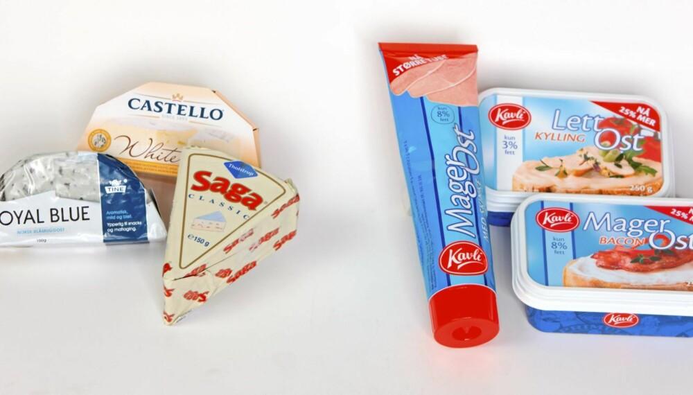 MYE OG LITE FETT: Fettrike oster som Tine Royal Blue, Saga og Castello inneholder opptil ti ganger så mye fett som magre smøreoster.
