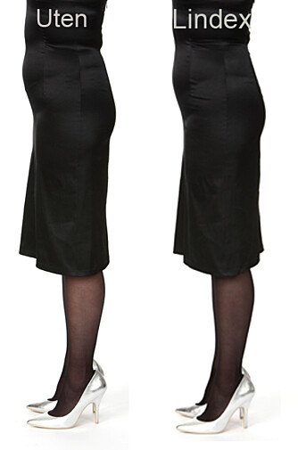 MED OG UTEN: Strømpebukse uten hold-ineffekt til venstre, og med hold-in til høyre. Ser du forskjell?