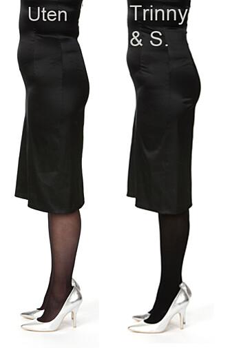 MED OG UTEN: Uten hold-in strømpebukse til venstre, og med til høyre. Ser du forskjell?