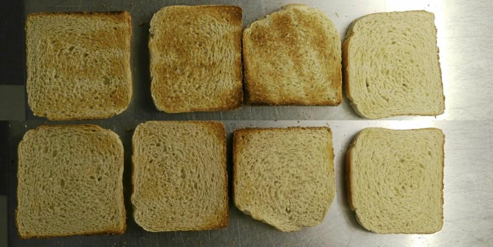 Kenwood: Noe ujevnt på selve skiven. Med unntak av den første, ga risteren et jevnt resultat i alle omgangene, riktig nok med noe ulik bruning på de to sidene på brødet. (Fra høyre mot venstre)