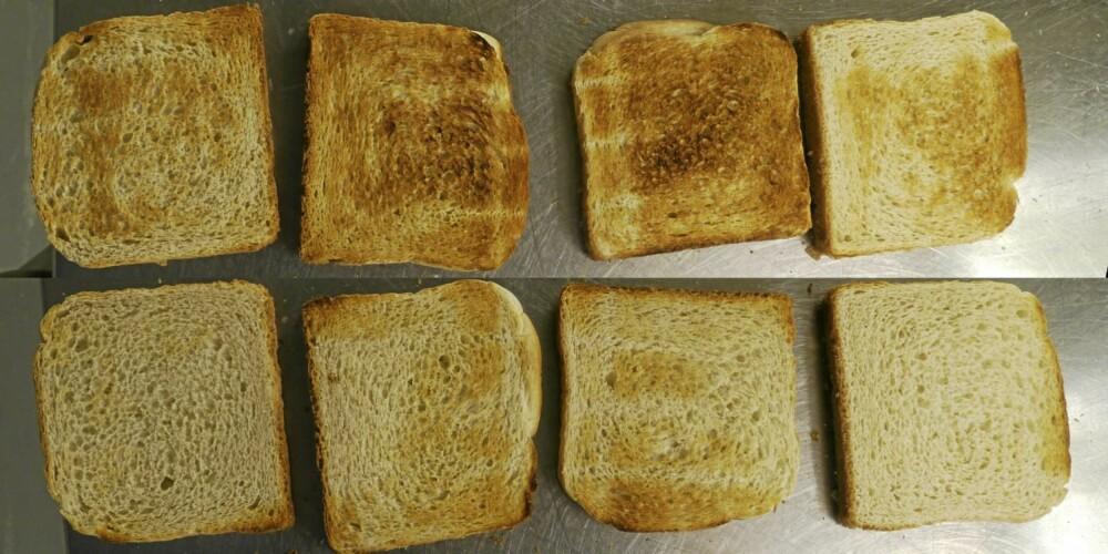OBH Nordica: Noe ujevnt på selve skiven, brukbart jevn bruning på omgangene.  Forskjell på bruningen av de to sidene på brødet. (Fra høyre mot venstre)