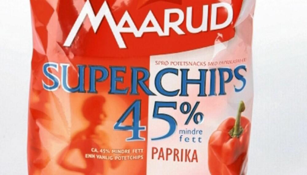 BEST PÅ SMAK: Men Maarud Superchips inneholder flere kalorier enn posen gir inntrykk av.